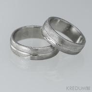 Snubní prsteny damasteel - Prima s linkou, dřevo, 75% světlé