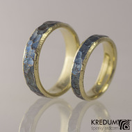 Snubní prsteny nerezová ocel a zlato - Cygnus yellow - prstence zatmavené typ Rock BG