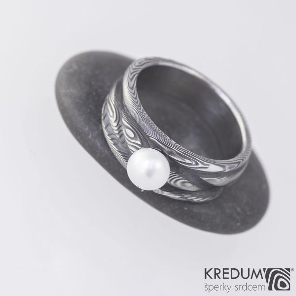 Zásnubní prsten nerezová ocel damasteel a perla - Víla vod