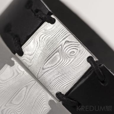 Kožený náramek - Manus 20 Damast XL černý
