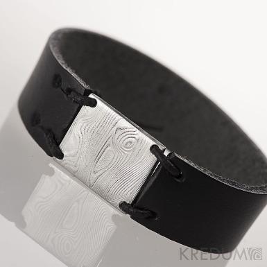 Kožený náramek - Manus 20 Damast XL - struktura dřevo - černá kůže