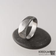 Zásnubní prsten ocel damasteel a diamant 1,7 - Intimity Slim, velikost 51