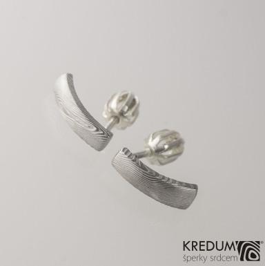 Kované damasteel náušnice - Moon, dřevo světlé, produkt S2054
