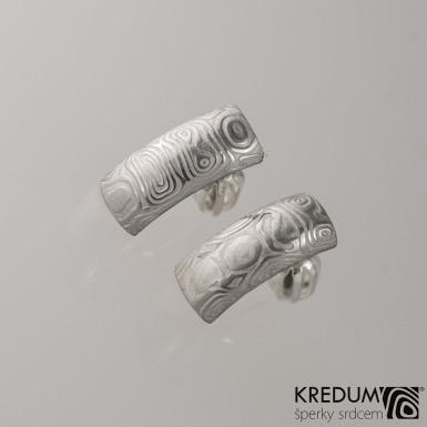 Kované damasteel naušnice - Moon, kolečka světlá, produkt č. 2056