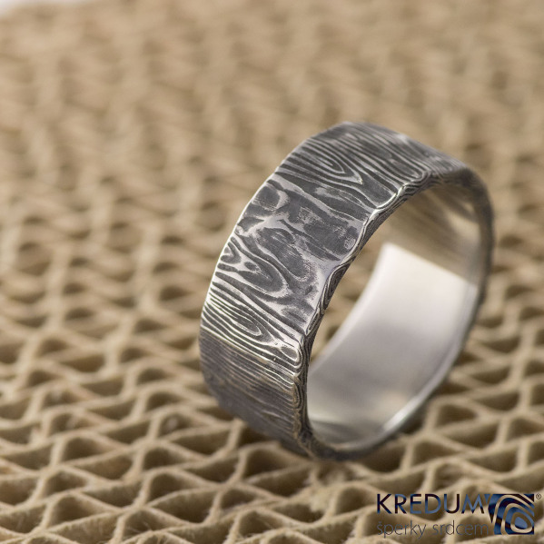 Snubní prsten nerezová ocel damasteel - Natura, velikost 65