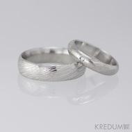 Snubní prsten damasteel - Prima + diamant 1,5 mm, struktura voda, lept 75% světlý