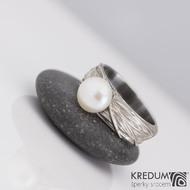 Gordik a perla - Motaný snubní prsten nerezový, velikost 50