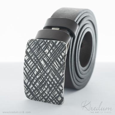 Kovaná nerez spona - Mistr 3X - Mřížka + kožený pásek 3X bez prošití - SK4128