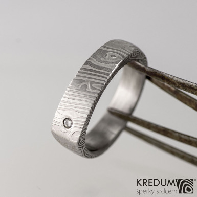 Cleans s diamantem 1,5 mm - kovaný prsten damasteel, kolečka - produkt č. 1632