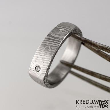 Cleans s diamantem 1,5 mm - kovaný prsten damasteel, kolečka - produkt č. 1632