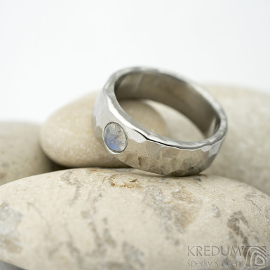 Draill lesklý a měsíční kámen - velikost 51, šířka 6 mm, tloušťka střední - Nezerové snubní prsteny - k 1514 (2)