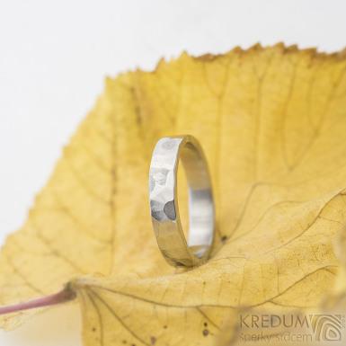 Draill lesklý - velikost 54, šířka 4,1 mm, tloušťka 1,5 mm - Kovaný prsten z nerezové oceli, SK2108 (2)
