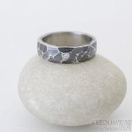 Draill tmavý a čirý diamant 1,7 mm - 52, šířka 5,5 mm, tlouš´tka střední - Ocelový zásnubní prsten, k 2512 (4)