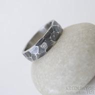 Draill tmavý a čirý diamant 1,7 mm - 52, šířka 5,5 mm, tlouš´tka střední - Ocelový zásnubní prsten, k 2512 (3)