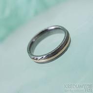 Duori red - 53, šířka 4,5 mm, dřevo extra TM, E - Damasteel a červené zlato, snubní prsteny, K 2482 (4)