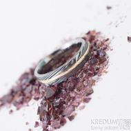 Duori red - 53, šířka 4,5 mm, dřevo extra TM, E - Damasteel a červené zlato, snubní prsteny, K 2482 (2)