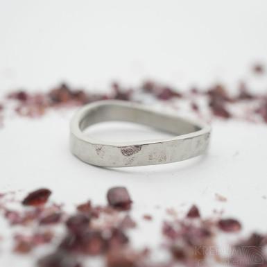 FOREVER Draill lesklý - velikost 51, šířka materiálu 3 mm, šířka vlny 5 mm, profil C - Kovaný nerezový snubní prsten - SK2351