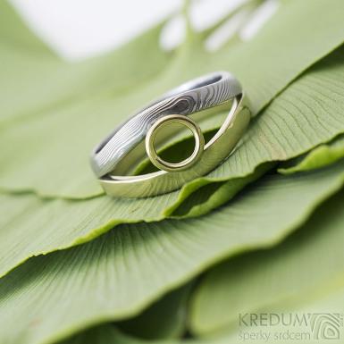 Gemini ring - Zlatý prsten a damasteel - dřevo - SK2393