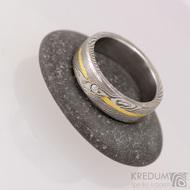 Goda a diamant 1,7 mm - dřevo - Snubní prsten damasteel a zlato