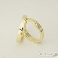 Golden draill yellow - 3 a 58, šířka 3,5 mm, tloušťka 1,5 mm, žluté zlato lesklé - Zlaté snubní prsteny - k 2327 (2)