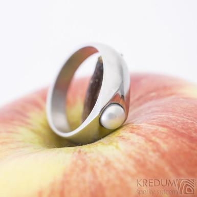 Gracia steel matný bílá perla, nerezový zásnubní prsten - sk2428 (5)