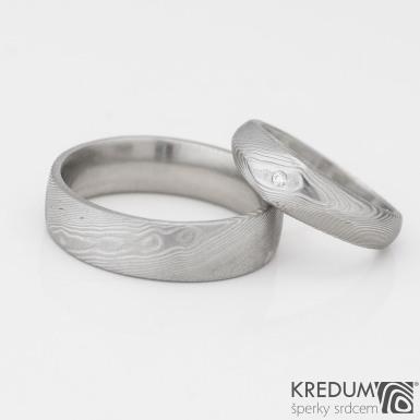 GRADA a čirý diamant 1,5 mm - dřevo - Kovaný zásnubní prsten damasteel - prsten Prima - lept 75% světlý
