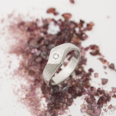 Hendi a čirý diamant 2,3 mm - 52, šířka 4 mm hlava 7 mm, dřevo 75% světlý - Damasteel zásnubní prsten - sk2513 (5)