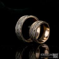 Motaný prsten - Gordik Mokume Gold red - patina - 7 mm