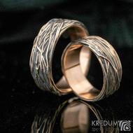 Motaný prsten - Gordik Mokume Gold - patina - 7 mm