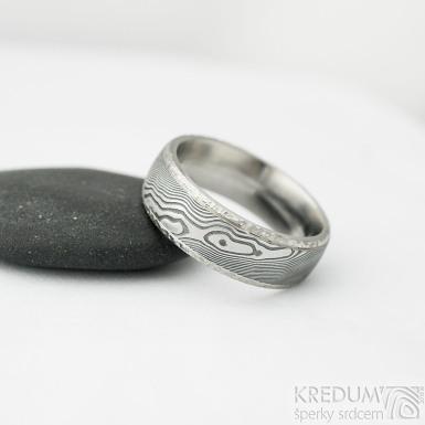 Kasiopea Marro - 61, šířka 7 mm, tlouťka nad 2 mm, dřevo 100% TM, E - Damasteel snubní prsten, et 1866 (5)