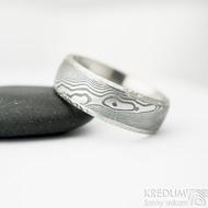 Kasiopea Marro - 61, šířka 7 mm, tlouťka nad 2 mm, dřevo 100% TM, E - Damasteel snubní prsten, et 1866 (4)