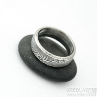 Kasiopea Marro - 61, šířka 7 mm, tlouťka nad 2 mm, dřevo 100% TM, E - Damasteel snubní prsten, et 1866 (2)