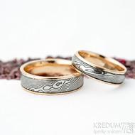 Kasiopea red - 58, 5,5 mm, 75 TM, E a 64, 6,5 mm,100 TM, F struktura dřevo, okraje 2x0,75 mm - Snubní prsteny - k 1875