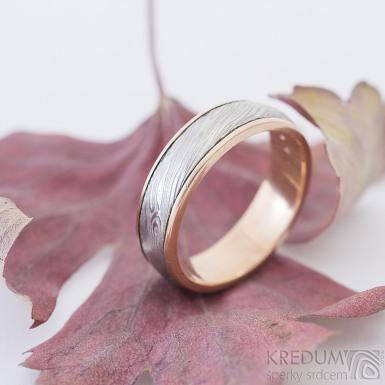 Kasiopea red voda - 56, šířka 5,5 mm, 1,8 mm, lept 75%SV, okraj e2x0,75 mm hladké, B - Zlaté snubní prsteny a damasteel - sk2370 (4)