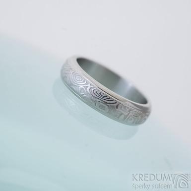 Kasiopea steel kolečka světlá - 52, šířka 4,7 mm, tloušťka 1,8 mm - Damasteel snubní prsteny -  sk2335 (2)