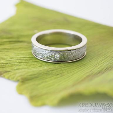 Kasiopea white a didmant 1,7 mm - 54, šířka 5 mm okraje 2x0,75 mm, voda 75% SV, tloušťka 1,8 mm - Snubní prsteny - sk2363 (4)