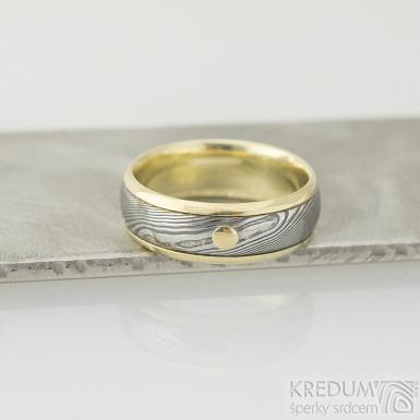 Kasiopea yellow a zlatý suk - 56, šířka 6,5 mm, tloušťka 1,7 mm, okraje 2x1 mm, D, dřevo 75% TM - Snubní prsten, k 2077