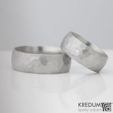 Klasi Draill matný a čirý diamant 1.7 mm - nerezový kovaný prsten - šířka 8 mm
