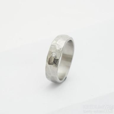 Klasik draill a čirý diamant 1,7 mm - 53, šířka 5,2 mm, tloušťka 1,7 mm, povrch lesklý - kovaný snubní prsten - sk2981 (3)