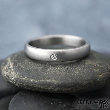 Klasik matný a čirý diamant 1,5 mm - Kovaný nerezový prsten - 55, šířka 3,5 mm, tloušťka 1,5 mm, matný, profil B - S1434 (3)