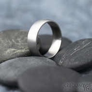 Klasik - matný, vel 64,5, šířka 7 mmm, profil B půlčočka s boční ploškou - Kovaný nerezový snubní prsten - SK1728 (6)