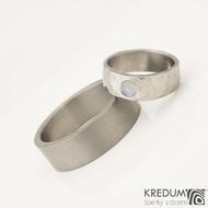 DRAILL titan matný a růženín s přírodním povrchem a titanový prsten Klasik