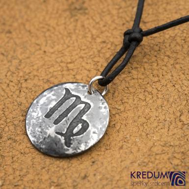 Kombinátor steel se znamením zvěrokruhu - Panna - nerezový přívěsek - SK1550 - na kůži, včetně uzlu přátelství