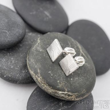 Kované damasteel náušnice - Quatro mini - k 1276 b (4)