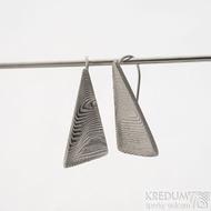 Kované damasteel náušnice - Triangulo světlé