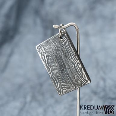 Kovové dřevo - přívěsek z oceli damasteel, S1487