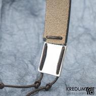 Kožený náramek - Manus 20 Damast XL hnědý - zadní strana je lesklá, může být i leptaná