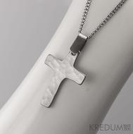 Křížek kovaný světlý - nerezová ocel