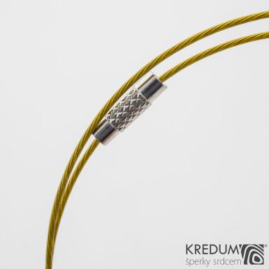 Zlaté nylonové lanko s ocelovou strunou - šroubovací uzávěr