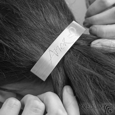 Linka Amor lesklá - základ 8 cm, šíře 1,9 mm - Nerezová spona do vlasů, SK1732